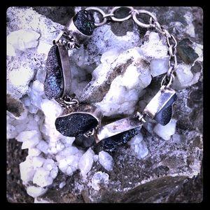 Dark druzy quartz bracelet.
